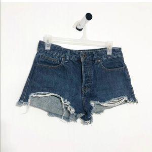 Free People Dark Wash Frayed Distressed Shorts 26